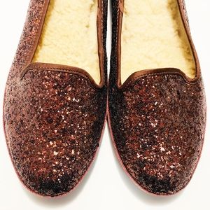 NEW UGG Women's Sz. 8.5 Glitter Maroon Flats